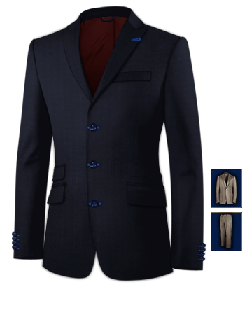 Costume Bleu Ciel Pas Cher with 3 Buttons, Single Breasted