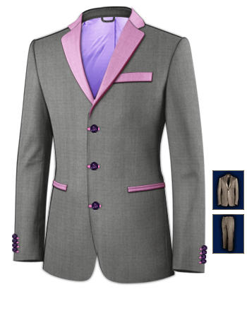 Costume Homme Rose with 3 Buttons, Single Breasted