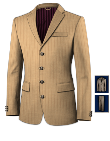 Veste Costume Blanche with 4 Buttons, Single Breasted