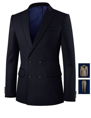 Costume Homme Blanc Raye Noir with 4 Buttons,double Breasted (2 To Close)