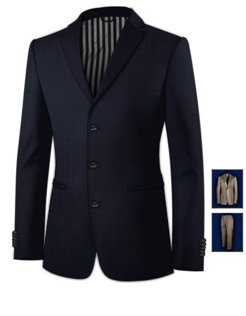 Costume Bleu Fonc� with 3 Buttons, Single Breasted
