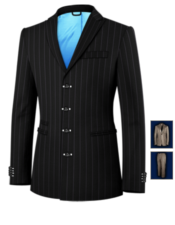 Veste Costume Double Boutonnage with 4 Buttons, Single Breasted