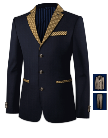 Costume Bleu Marine Trois Pi�ces with 3 Buttons, Single Breasted