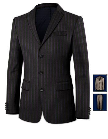 Manteau Homme Noir Long with 3 Buttons, Single Breasted