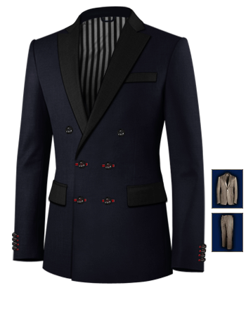 Costume Homme Petite Stature with 6 Buttons, Double Breasted (2 To Close)