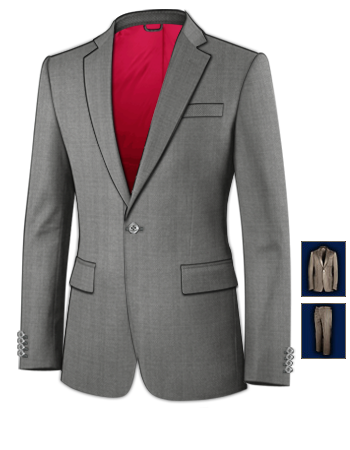 Costume Homme Beige with 1 Button, Single Breasted