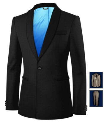 Costume Homme Noir with 1 Button, Single Breasted